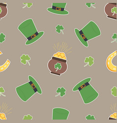 irish shamrock pot of gols horseshoe pattern vector image