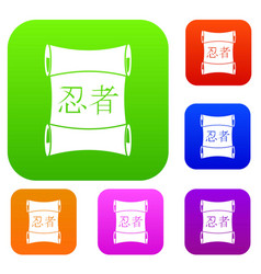 Japanese traditional scrol set color collection vector