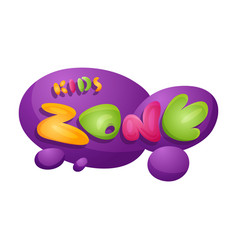 kids zone playroom banner in cartoon style for vector image