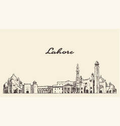 lahore skyline punjab pakistan drawn sketch vector image