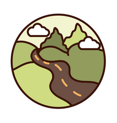 landscape nature valley road mountains line and vector image