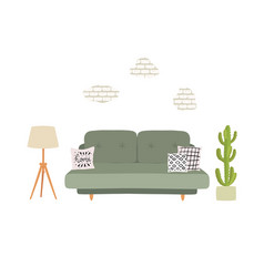 Living room interior with grey sofa pillows vector