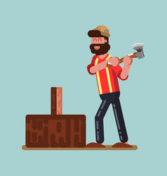 Lumberjack chopping wood vector
