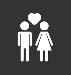 man and woman with heart icon on black background vector image