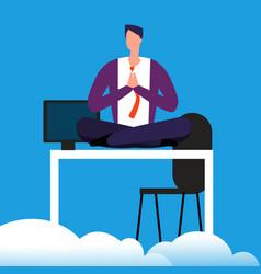 meditation time on work man is meditating over vector image