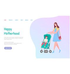 Motherhood web mom going with carriage vector