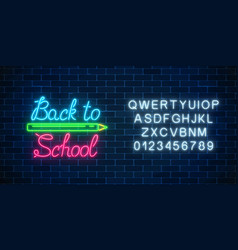 Neon banner with back to school greeting text vector
