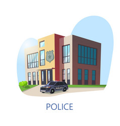 outdoor view on police department building vector image