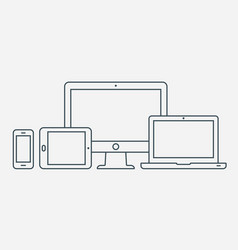 Outline icons monitor laptop tablet pc vector