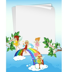 Paper design with fairies and rainbow vector