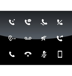 Phones related icons on black background vector