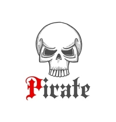 pirate skull or jolly roger symbol in sketch style vector image