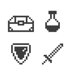 Pixel game set vector image