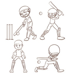 Plain sketches of the cricket players vector image