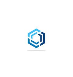 Polygon line circle colored company logo vector