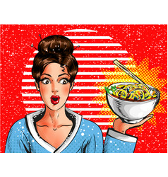 Pop art pretty young girl holding bowl with vector