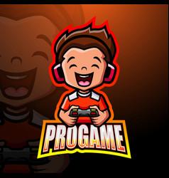 Pro gamer mascot esport logo design vector