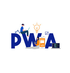 Pwa progressive web app latest website vector
