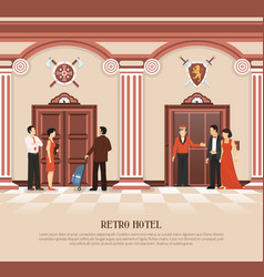 Retro hotel elevator background vector