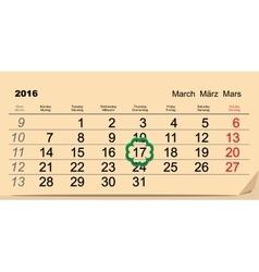 Saint Patricks Day Calendar 2016 March 17 vector