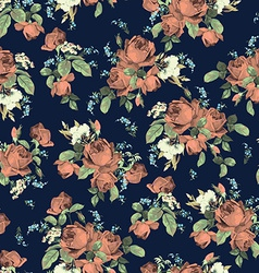 Seamless floral pattern with roses on dark vector image