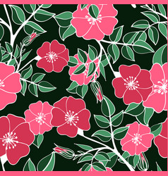 Seamless pattern with pink colors of a dog rose vector