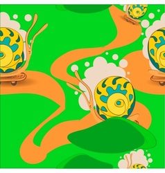 Seamless sample riding snails on a skateboard vector image
