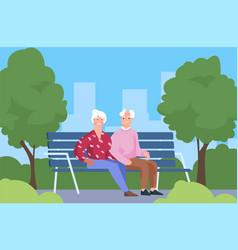seniors couple in park elderly people sitting vector image