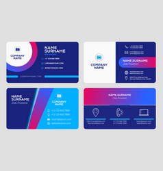 Set business card templates stationery design vector