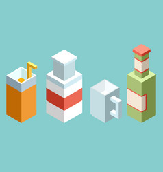Set of stylized isometric cups and glasses of vector