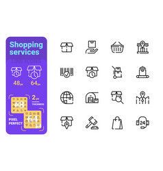 set shopping simple lines icons box delivery vector image