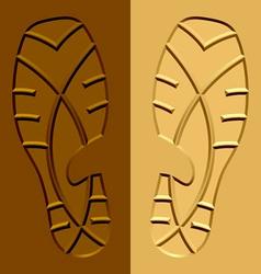 Shoe imprints mud sand vector