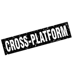 Square grunge black cross-platform stamp vector