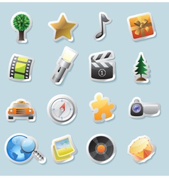 Sticker icons for entertainment vector