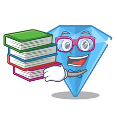 Student with book sapphire gems in a cartoon bag vector