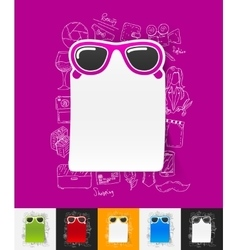 Sunglasses paper sticker with hand drawn elements vector