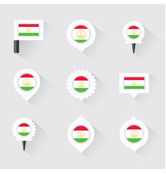 tajikistan flag and pins for infographic and map vector image vector image