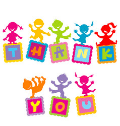 thank you card with cartoon kids vector image