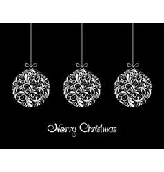 Three White Christmas balls on black background vector