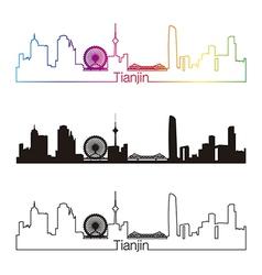 tianjin skyline linear style with rainbow vector image