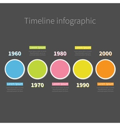 Timeline Infographic with colored round circle and vector