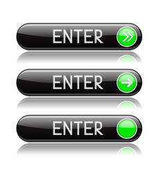 Black enter buttons with green tags and reflection vector