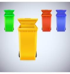 Colored waste bins with the lid open vector image vector image