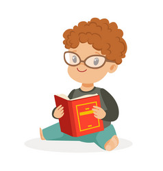 Cute little boy wearing glasses sitting on the vector