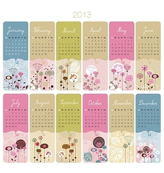Floral Calendar vector image vector image