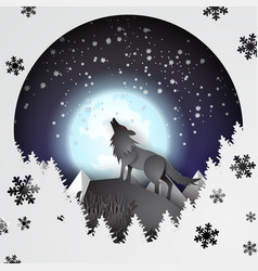 paper art and craft of wolf on mountian vector image vector image