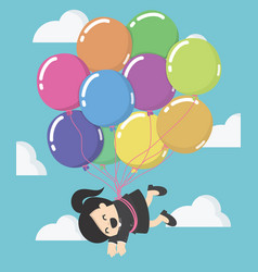 business woman floating with balloon vector image