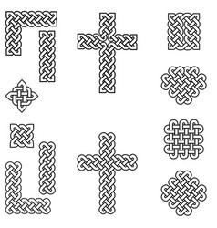 celtic style endless knot symbols in black white vector image vector image