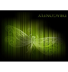 green dragonfly and stripes vector image vector image