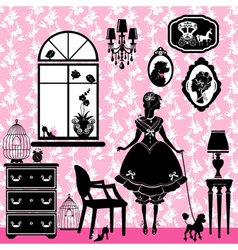 Princess Room with glamour accessories furniture c vector image